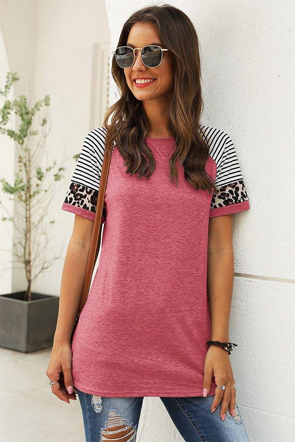Hualong Cute Women Pink Leopard Printed Short Sleeve Tees