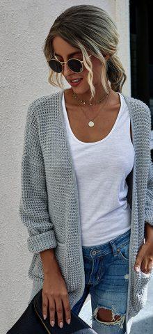 Hualong Cute Women Pocket Knit Gray Ladies Cardigan Sweaters
