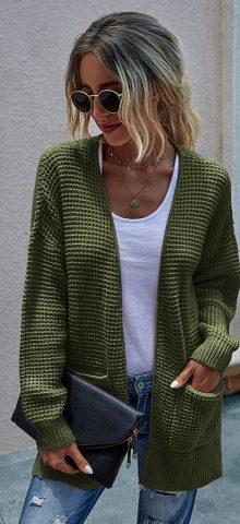 Hualong Cute Women Pocket Knit Long Green Cardigan
