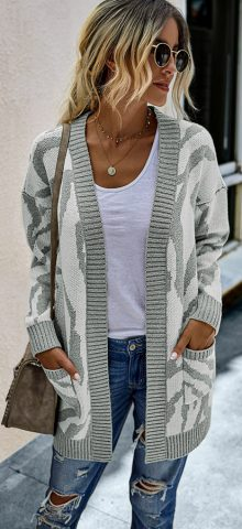 Hualong Cute Women Pocket Long Gray Long Sleeveless Cardigan