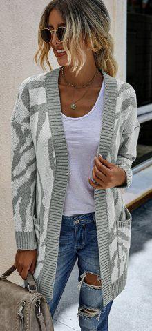 Hualong Cute Women Pocket Long Gray Long Sleeveless Cardigan