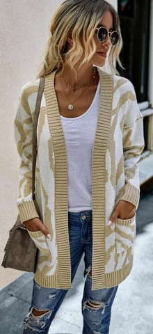 Hualong Cute Women Pocket Long Khaki Open Front Cardigan