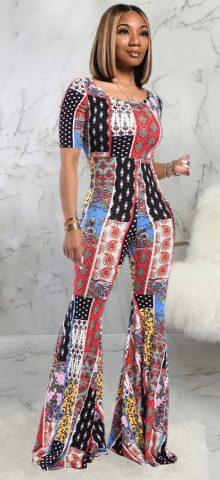 Hualong Cute Women Printed Wide Leg Short Sleeve Jumpsuits