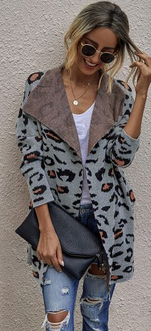 Hualong Cute Women Shawl Collar Cheetah Print Cardigans