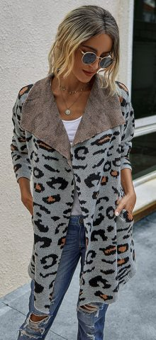 Hualong Cute Women Shawl Collar Cheetah Print Cardigans