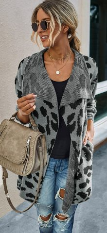 Hualong Cute Women Shawl Collar Gray Leopard Cardigan Sweater