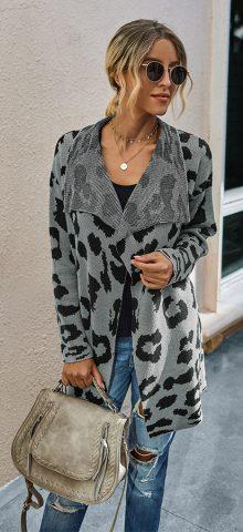 Hualong Cute Women Shawl Collar Gray Leopard Cardigan Sweater