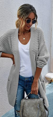 Hualong Cute Women Side Pocket Gray Chunky Cardigan Sweater
