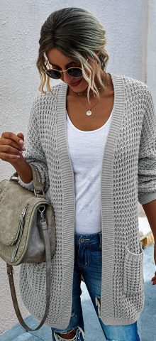 Hualong Cute Women Side Pocket Gray Chunky Cardigan Sweater