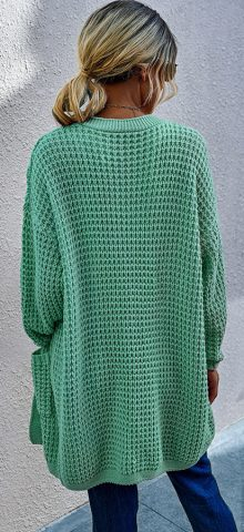 Hualong Cute Women Side Pocket Green Long Knitted Cardigan