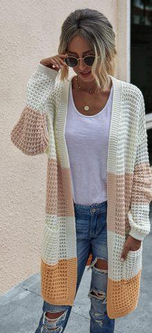 Hualong Cute Women Side Pocket Knit Cardigan Sweater