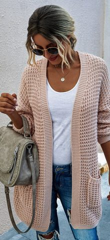 Hualong Cute Women Side Pocket Pink Knit Chunky Cardigan