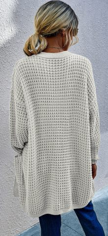 Hualong Cute Women Side Pocket White Chunky Knit Cardigan