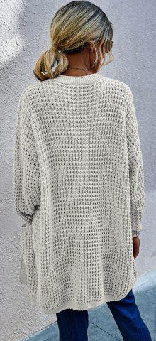 Hualong Cute Women Side Pocket White Chunky Knit Cardigan