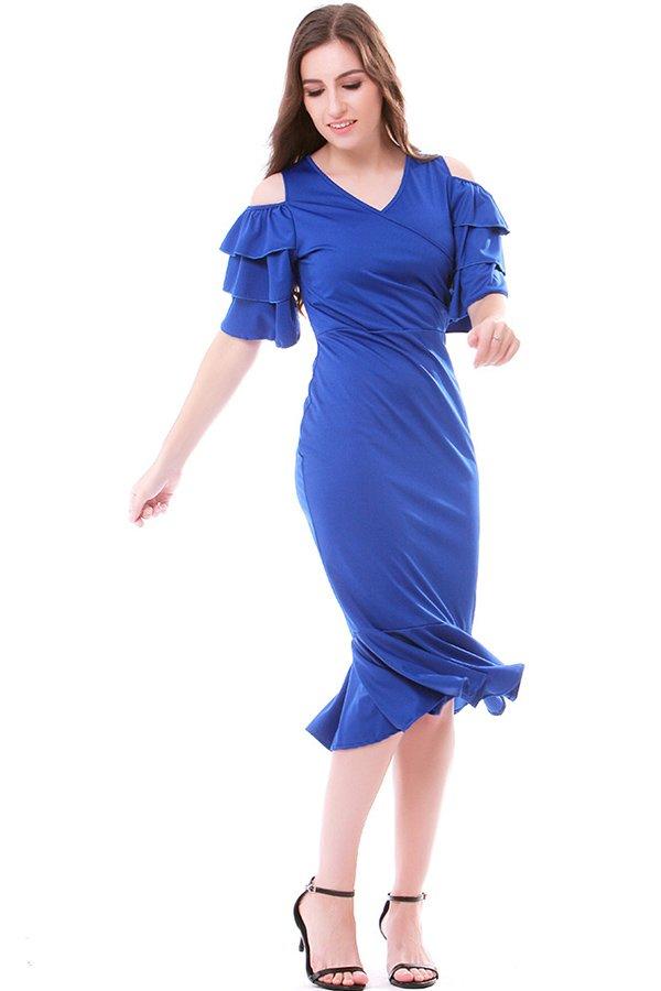 Hualong Elegant V Neck Navy Blue Ruffle Cold Shoulder Dress