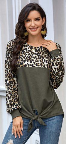 Hualong Round Neck Leopard Green Cute Long Sleeve T Shirts