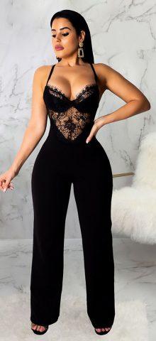 Hualong Sexy Lace Bodocon Black Spaghetti Strap Jumpsuit