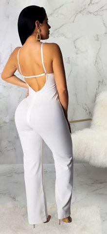 Hualong Sexy Lace White Spaghetti Strap Wide Leg Jumpsuit