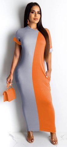 Hualong Cute Color Block Round Neck Short Sleeve Long Maxi Dress