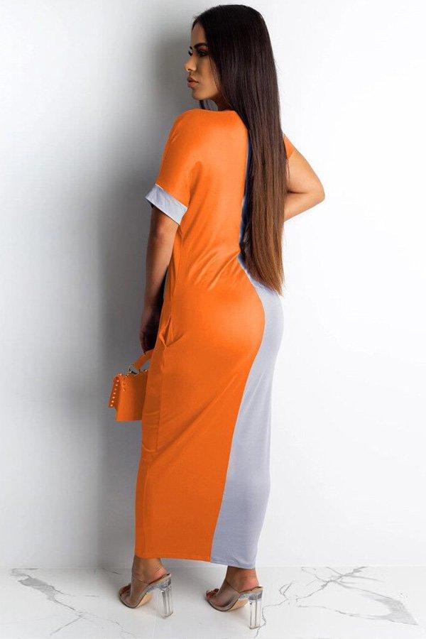 Hualong Cute Color Block Round Neck Short Sleeve Long Maxi Dress