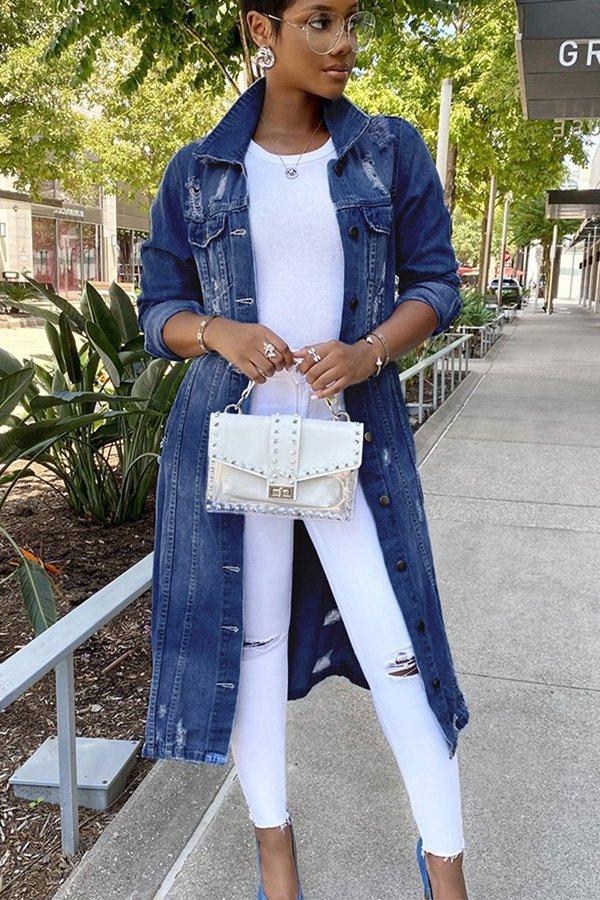 Hualong Cute Long Sleeve Button Up Ripped Blue Jean Dress