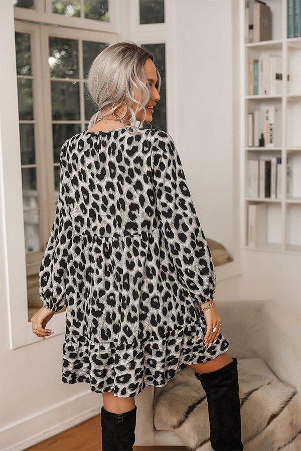 Hualong Cute Round Neck Long Sleeve Leopard Print Midi Dress