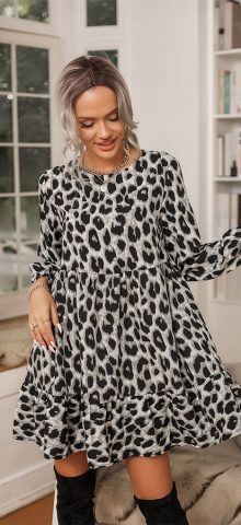 Hualong Cute Round Neck Long Sleeve Leopard Print Midi Dress