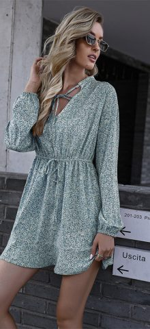 Hualong Cute V Neck Long Sleeve Green Floral Wrap Dress