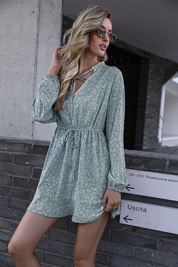 Hualong Cute V Neck Long Sleeve Green Floral Wrap Dress