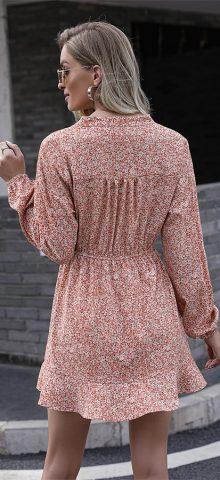Hualong Cute V Neck Long Sleeve Red Floral Wrap Dress