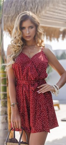 Hualong Cute Wrap Strap Red Polka Dot Romper