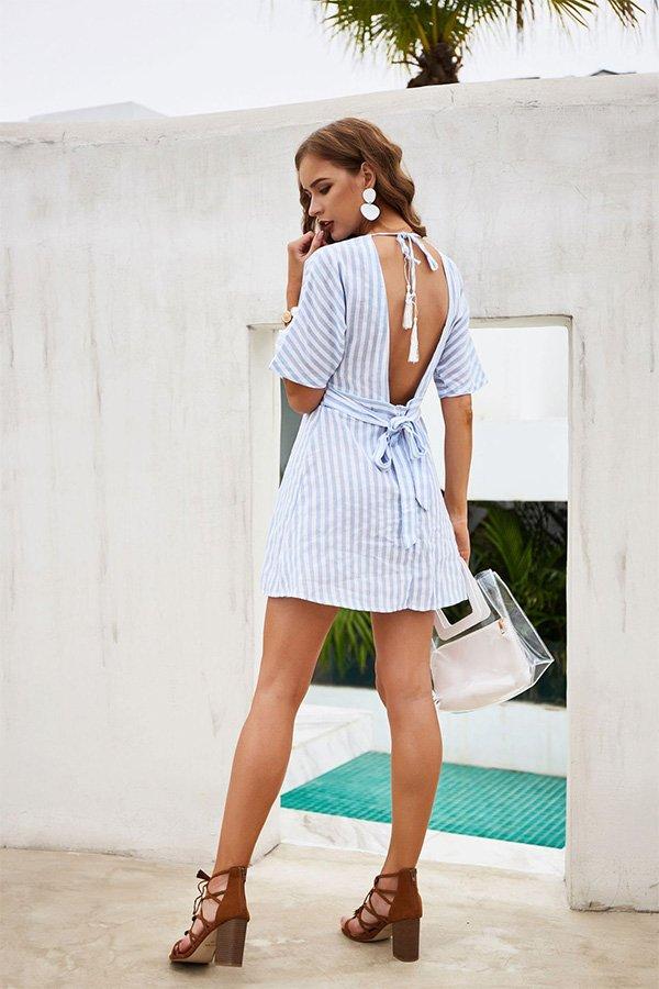 Hualong Deep V Neck Short Sleeve Striped Button Down Dress