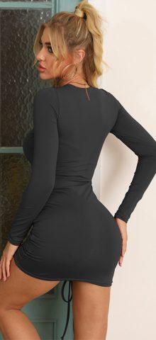 Hualong Sexy Black Bodycon Long Sleeve Tee Shirt Dresses