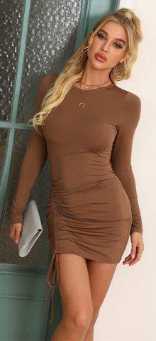 Hualong Sexy Brown Bodycon Long Sleeve Tee Shirt Dresses
