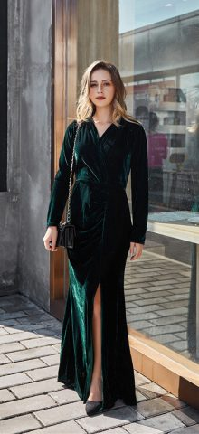 Hualong Sexy Green V Neck Wrap Long Sleeve Maxi Dress With Slit