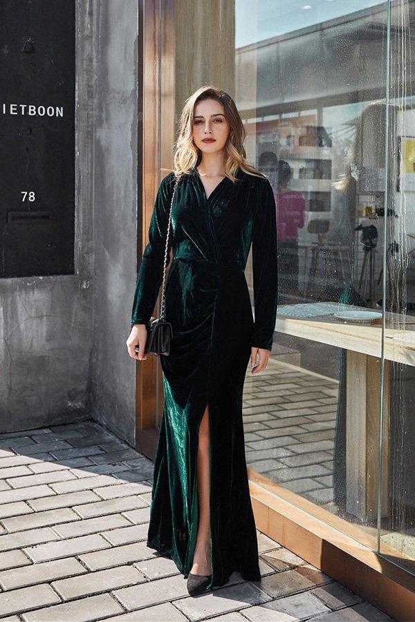 Hualong Sexy Green V Neck Wrap Long Sleeve Maxi Dress With Slit