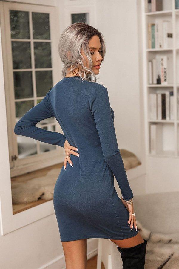Hualong Sexy Long Sleeve Bodycon Navy Blue Cocktail Dress