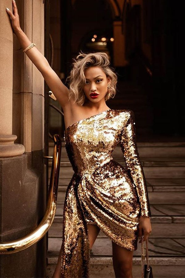 Hualong Sexy One Shoulder One Sleeve Gold Sequin Dress