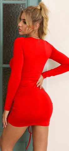 Hualong Sexy Red Bodycon Long Sleeve Tee Shirt Dresses
