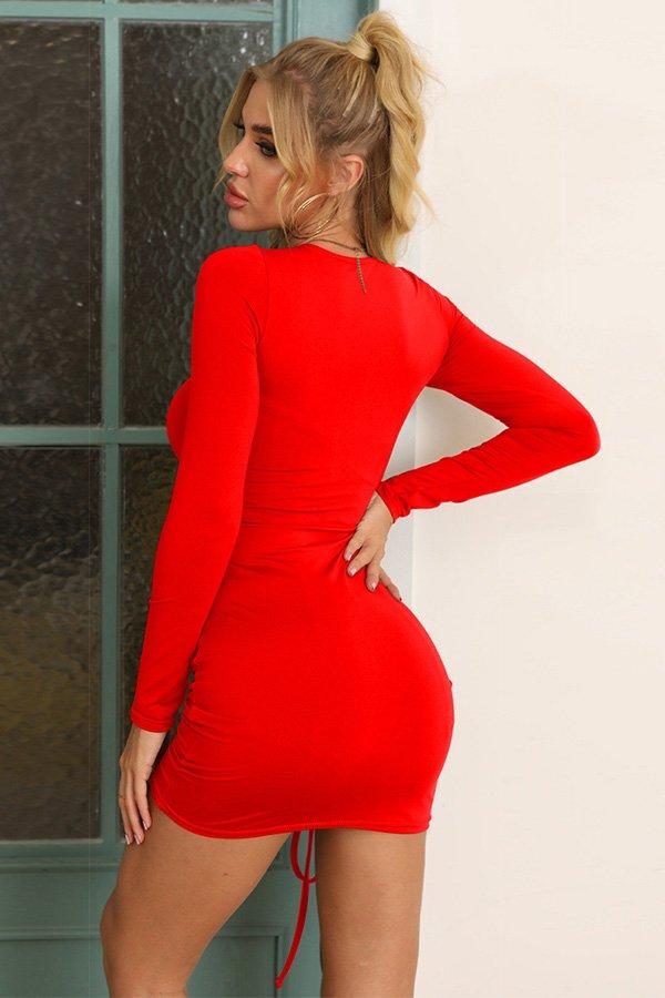 Hualong Sexy Red Bodycon Long Sleeve Tee Shirt Dresses