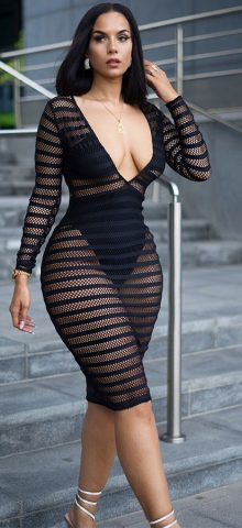 Hualong Sexy V Neck Long Sleeve Mesh Black See Through Dress