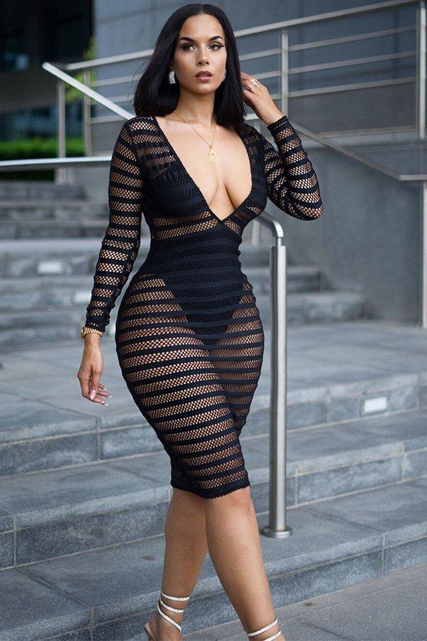 Hualong Sexy V Neck Long Sleeve Mesh Black See Through Dress