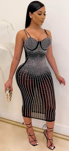 Hualong Strap Black Sexy Long Sparkly Bodycon Dress
