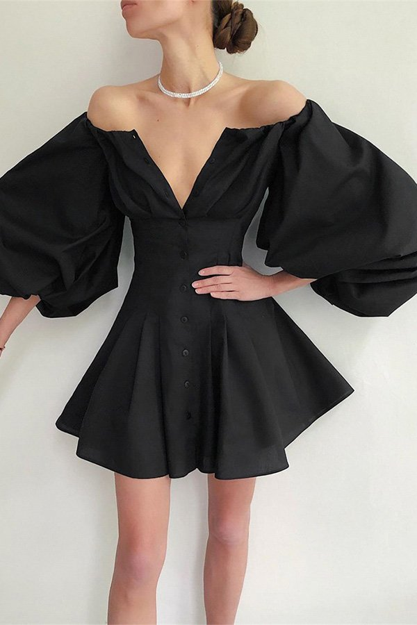 Hualong Black Button Down Off the Shoulder Bell Sleeve Mini Dress