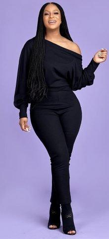 Hualong Cute Bodycon Long Sleeve Black One Shoulder Jumpsuit