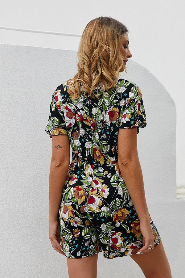 Hualong Cute Floral Printed V Neck Short Sleeve Romper
