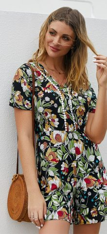 Hualong Cute Floral Printed V Neck Short Sleeve Romper