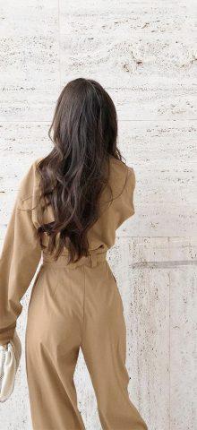 Hualong Cute Pocket Front Wrap Formal Long Sleeve Jumpsuit