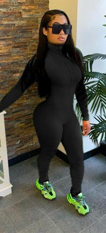 Hualong High Neck Zipper Front Black Long Sleeve Jumpsuit