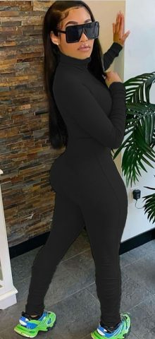 Hualong High Neck Zipper Front Black Long Sleeve Jumpsuit